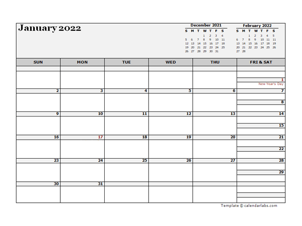 2022 New Zealand Calendar For Vacation Tracking