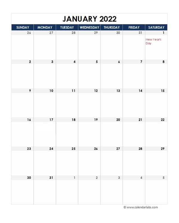 2022 New Zealand Calendar Spreadsheet Template