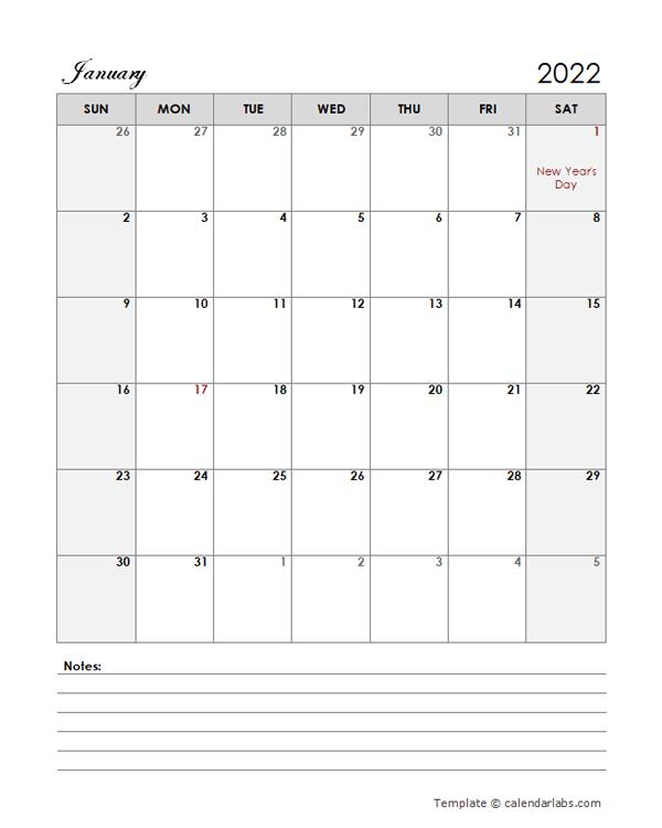 2022 New Zealand Calendar Template Large Boxes