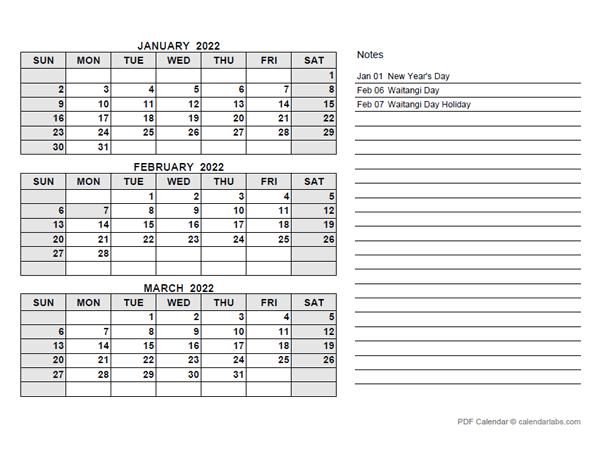 2022 New Zealand Quarterly Calendar with Holidays