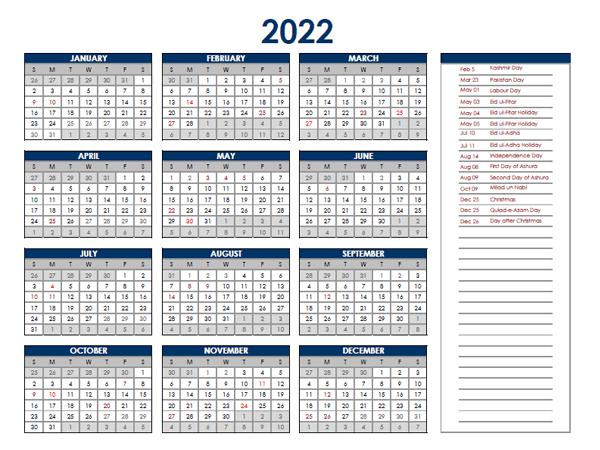 2022 Pakistan Annual Calendar with Holidays