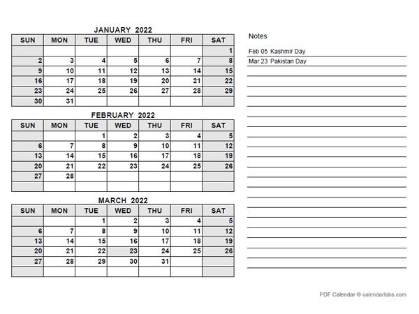 2022 Pakistan Quarterly Calendar with Holidays