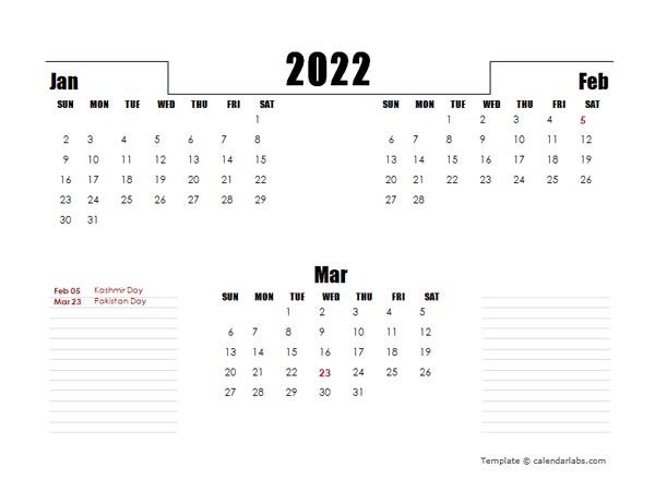 2022 Pakistan Quarterly Planner Template