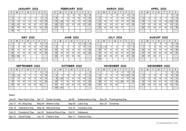 2022 PDF Yearly Calendar With Holidays