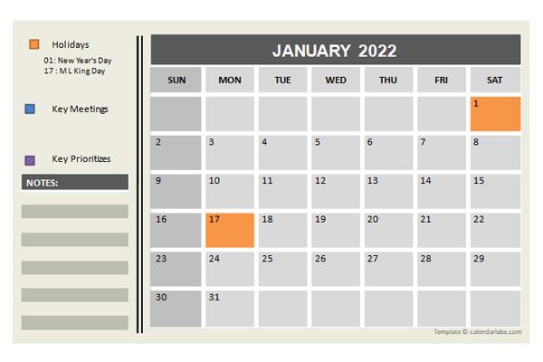 Powerpoint Calendar Template 2022.2022 Powerpoint Calendar With Holidays Free Printable Templates