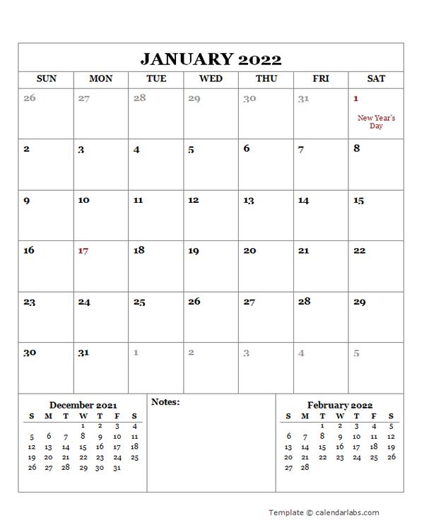 2022 Printable Calendar with New Zealand Holidays