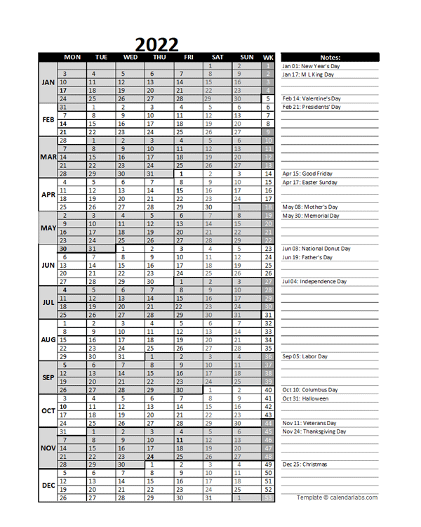 2022 Business Project Planning Calendar With Week Number