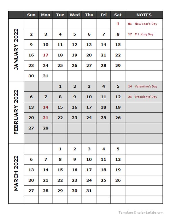 Quarterly Calendar 2022.2022 Quarterly Calendar Template Free Printable Templates
