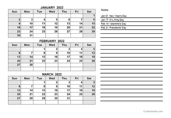 Quarterly Calendar 2022.2022 Quarterly Calendar Pdf Free Printable Templates