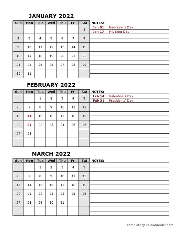 Quarterly Calendar 2022.2022 Quarterly Calendar With Holidays Free Printable Templates