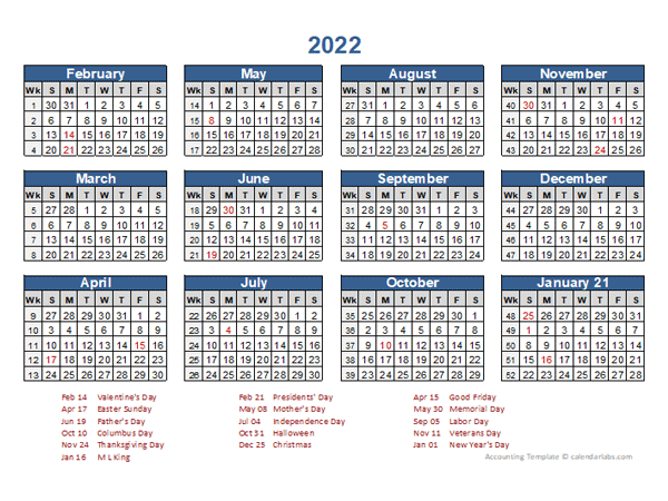 Goodwill Sales Calendar 2022.2022 Retail Accounting Calendar 4 4 5 Free Printable Templates