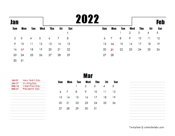 3 Month Calendar 2022.2022 Quarterly Three Month Calendar Free Printable Templates