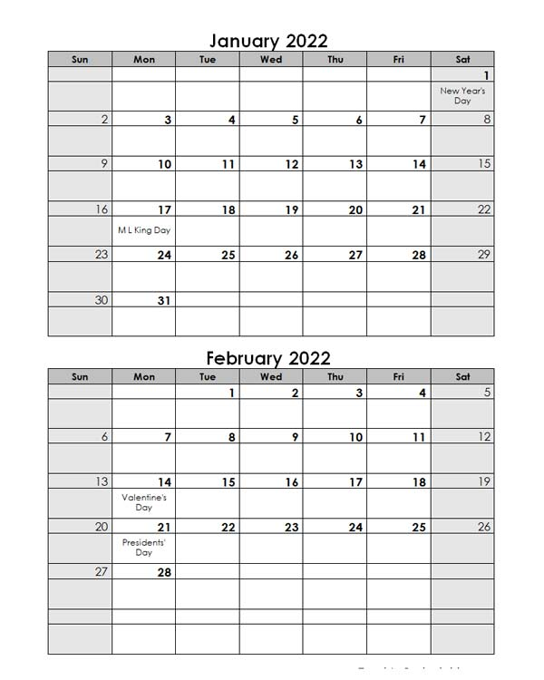 2022 Word Calendar Template Two Months In One Page