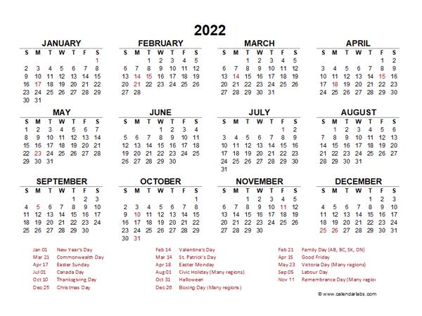 2022 Calendar At A Glance.2022 Year At A Glance Calendar With Canada Holidays Free Printable Templates