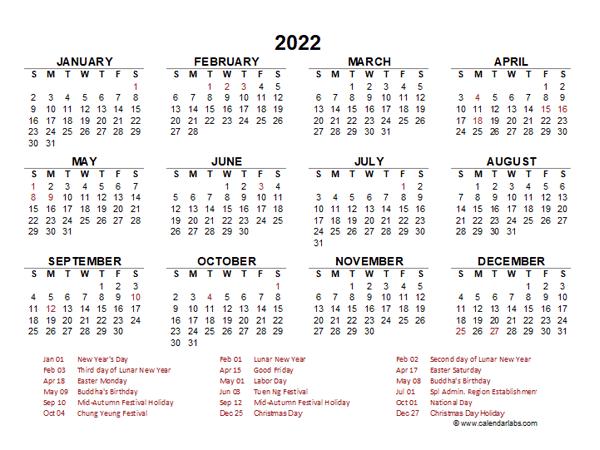2022 Year at a Glance Calendar with Hong Kong Holidays