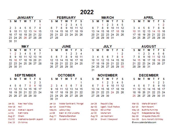 2022 19 Calendar.2022 Year At A Glance Calendar With India Holidays Free Printable Templates