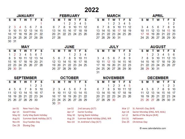 Religious Calendar 2022.2022 Year At A Glance Calendar With Ireland Holidays Free Printable Templates
