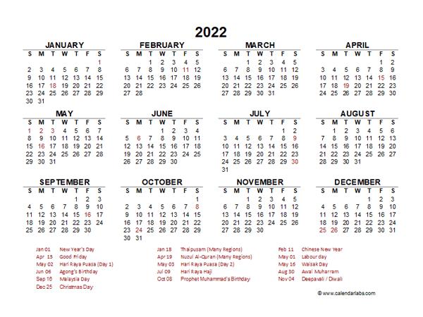 2022 2023 Calendar.2022 Year At A Glance Calendar With Malaysia Holidays Free Printable Templates