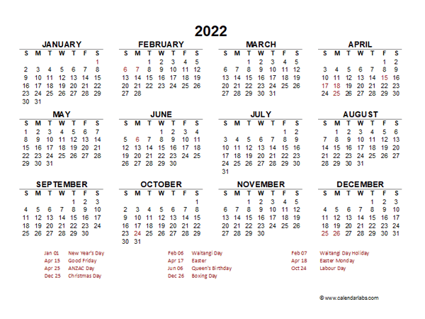 2022 Year at a Glance Calendar with New Zealand Holidays