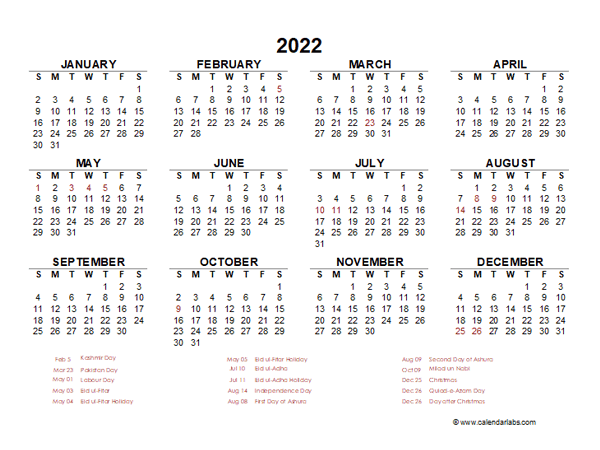2022 Year at a Glance Calendar with Pakistan Holidays