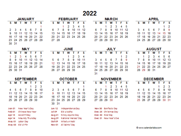 Chinese New Year Calendar 2022.2022 Year At A Glance Calendar With Philippines Holidays Free Printable Templates