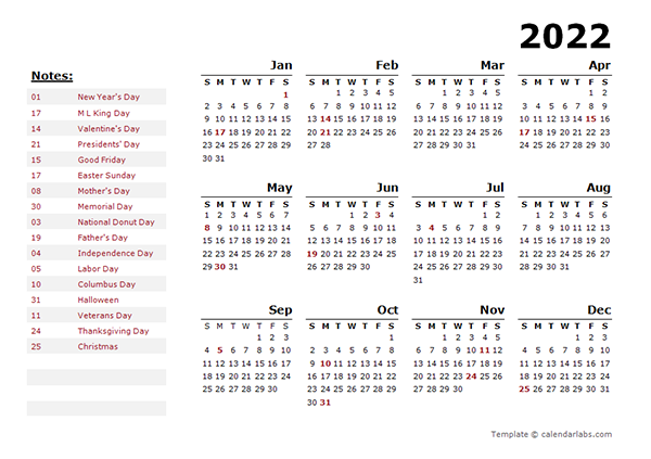 2022 Yearly Calendar Template With US Holidays