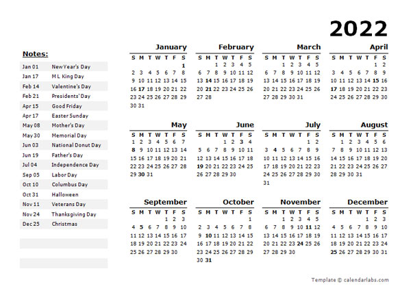 2022 Year Calendar Word Template With Holidays