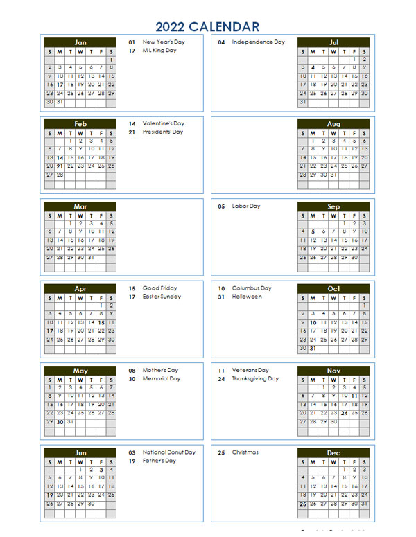 2022 Year At A Glance Word Calendar Template