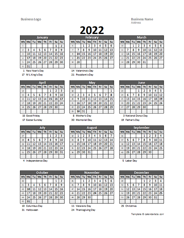 Work Week Calendar 2022.2022 Yearly Business Calendar With Week Number Free Printable Templates