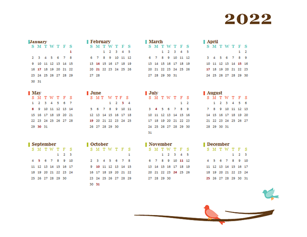 2022 Yearly Calendar Bird Template