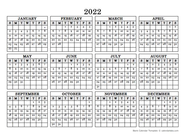 2022 Blank Yearly Calendar Landscape
