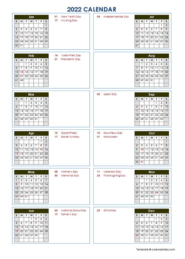 2022 Yearly Calendar Template Vertical Design