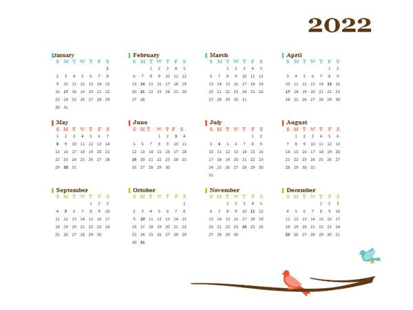 2022 Yearly Editable Word Calendar Template