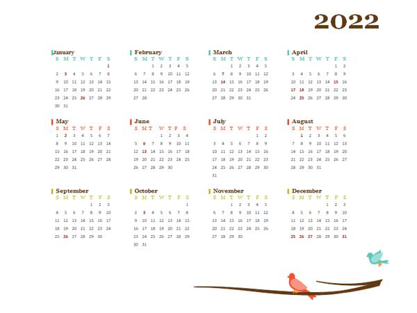 2022 Yearly Hong Kong Calendar Design Template