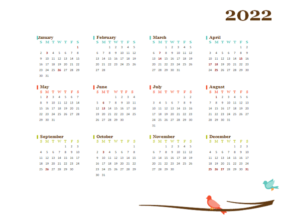 2022 Yearly New Zealand Calendar Design Template