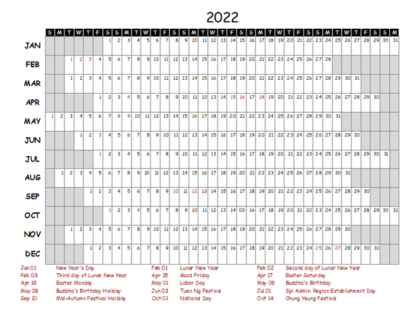 2022 Yearly Project Timeline Calendar Hong Kong