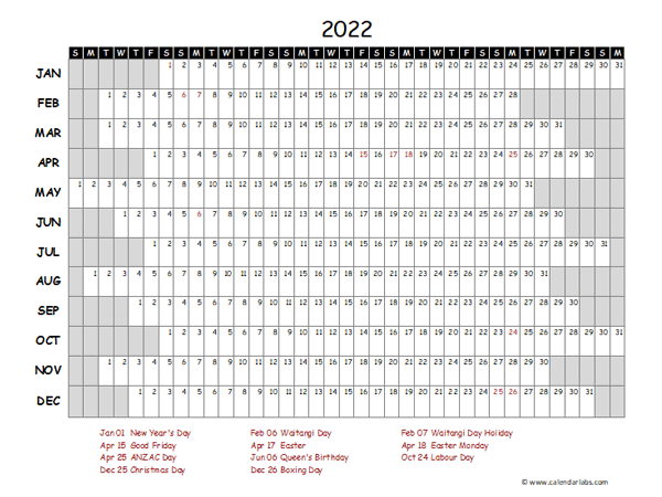 2022 Yearly Project Timeline Calendar New Zealand
