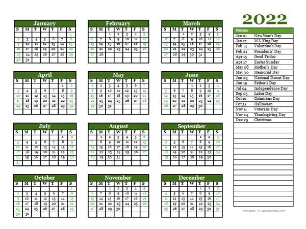Free Editable 2022 Yearly Word Calendar