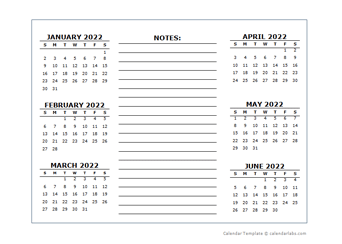 2 Page Yearly Calendar Template 2022