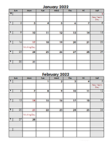 2 Page Monthly Calendar 2022 Printable.Free 2022 Monthly Calendar Templates Calendarlabs