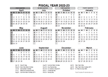 2022-23 Fiscal Year Calendar UK Template