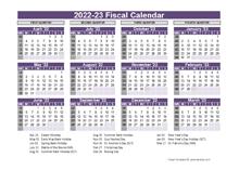 UK Fiscal Calendar Template 2022-2023