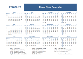 2022 Fiscal Year Calendar Template UK
