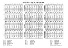Fiscal Calendar 2022-2023 Templates