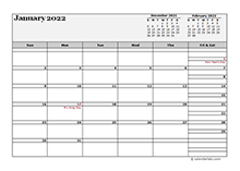 2022 Monthly Planner Template Landscape