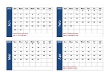 2022 Four Monthly Calendar Template