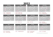 2022 Accounting Calendar 5-4-4