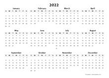 2022 Annual Blank Word Calendar Template