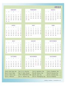 2022 Annual Calendar Design Template