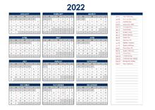 2022 Australia Annual Calendar with Holidays
